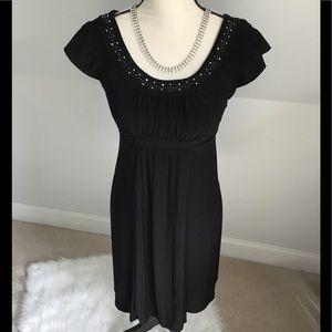 👠Rhinestone Embellished Black Dress Size 4